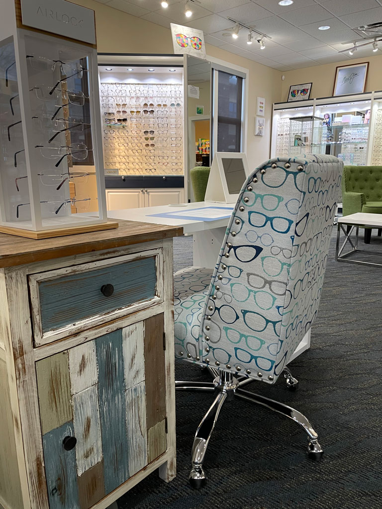 office chair with glasses pattern on it